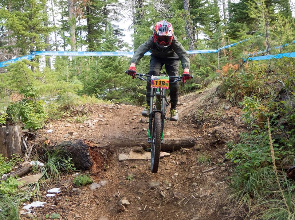 Photo of mountain bikers on downhill course.