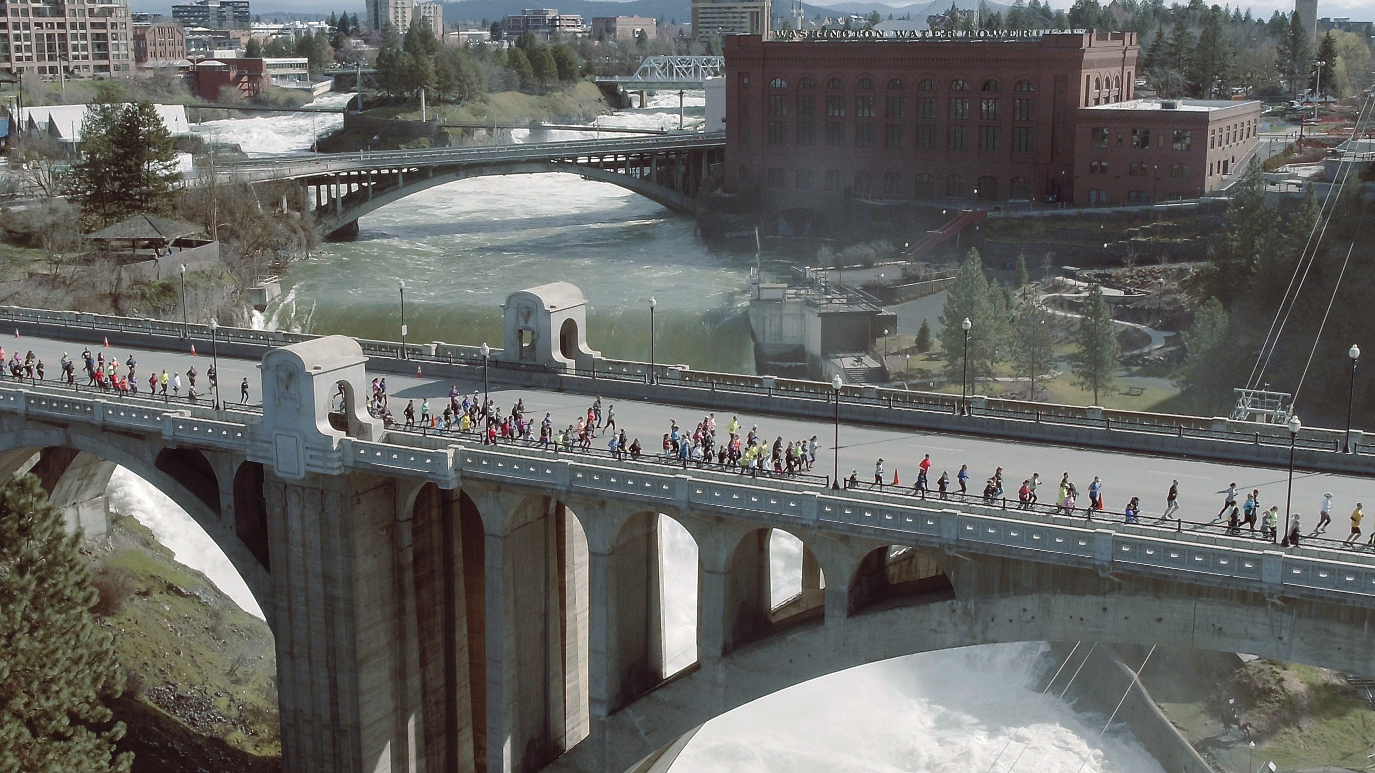 Runners cross the Spokane River (Photo from Ryan Hite)