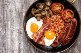 Photo of frying pan with a full English breakfast.