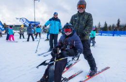 Photo of skier in the Mt. Spokane Adaptive Ski & Snowboard Program at Mt. Spokane by Aaron Theisen.