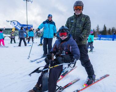 Photo of skier in the Mt. Spokane Adaptive Ski & Snowboard Program at Mt. Spokane by Aaron Theisen.