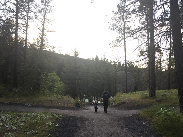 Photo of father and son hiking in Riverside State Park.