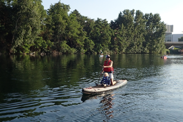 Photo of family paddleboarding on the Spokane River.