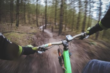 Photo of handlebar and trail from biker's perspective.