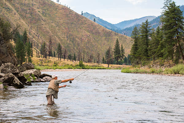 Photo of fly fisher in the Salmon River.