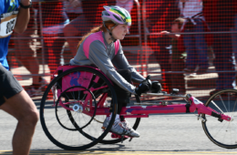 Photo of wheelchair racer at Bloomsday.