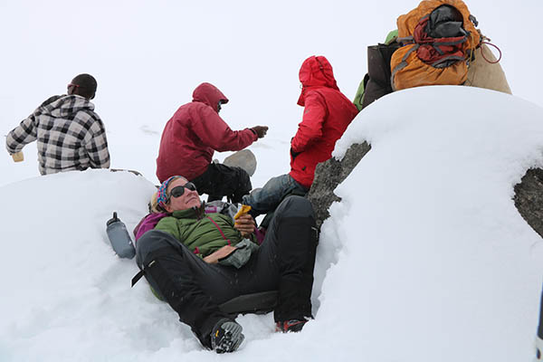 Photo of climbers taking a break.