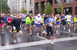 Photo of runners in downtown Spokane.