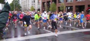 Photo of runners in downtown Spokane.