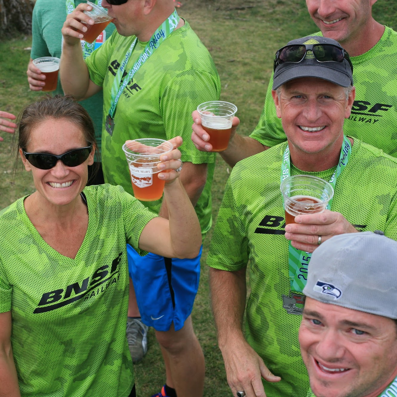 Spokane to Sandpoint relay runners enjoy post-race beers