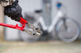 Photo of heavy duty wire cutters and bike in background.