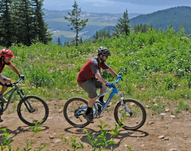 Photo of two mountain bikers riding on double track trail.