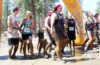 Photos of racers at the finish line of the Dirty Dash.