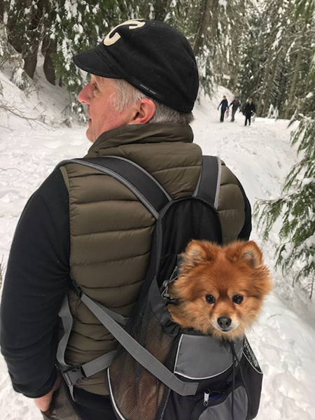 Photo of Glen Copus hiking with his dog Phoebe in a backpack pack.