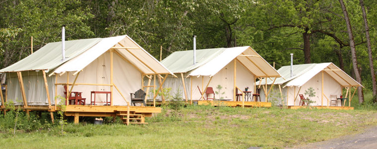 Photo of permanent tents set up at River Dance Lodge.