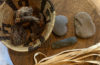 Photo of tule basket and weaving supplies.