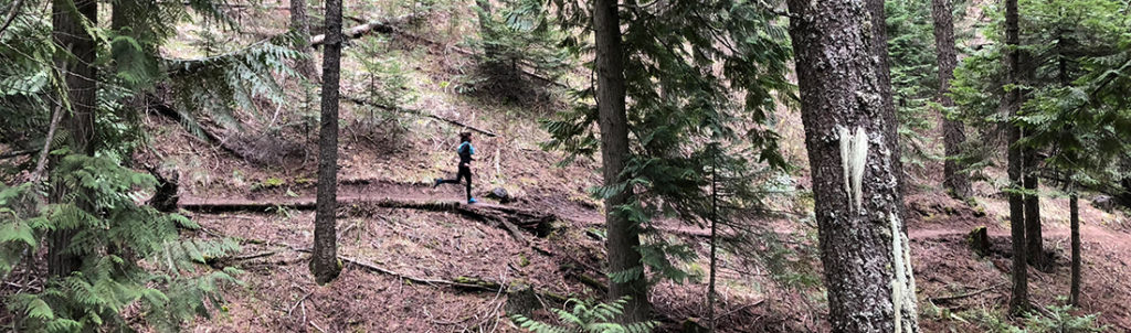 Lisa Laughlin running on the Headwaters Trail on Moscow Mountain.