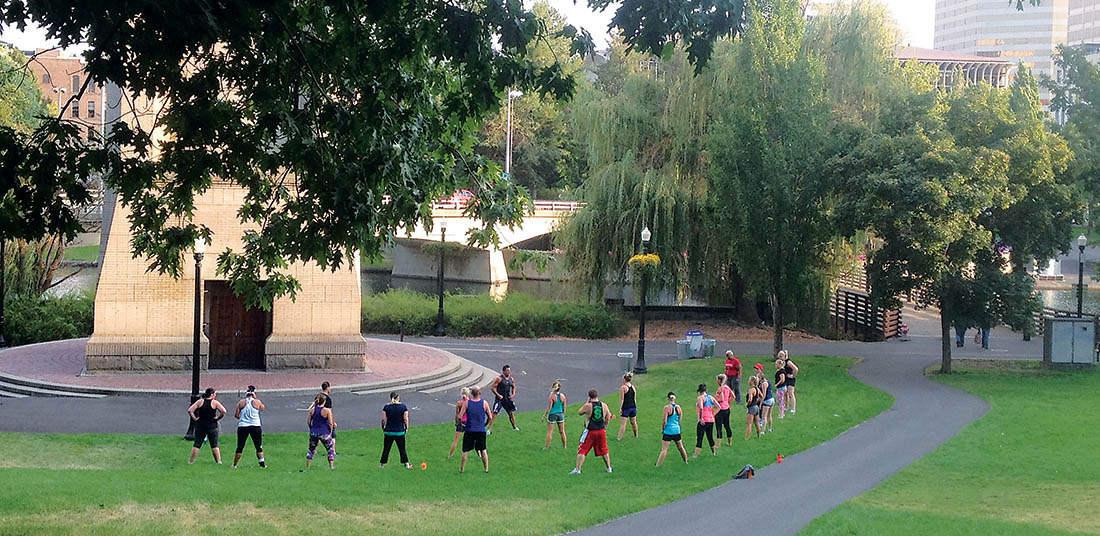 Photo of workout class from afar in downtown Spokane.