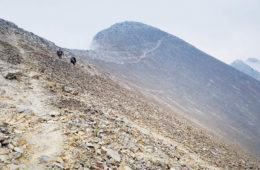 Photo of trail through scree field on Bridger Bowl.