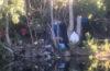Photo of trash along the Spokane River shoreline.