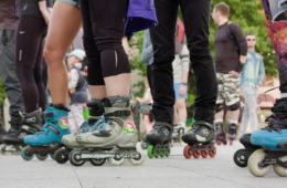 Photo of people rollerblading.