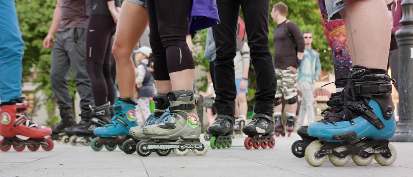 Photo of people rollerblading.