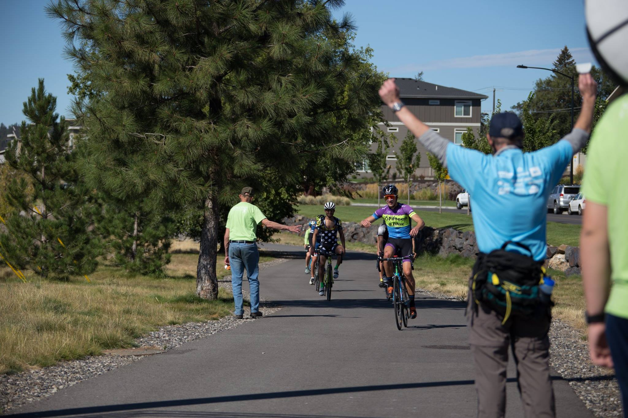 Bicyclers on the Centennial trail during a race