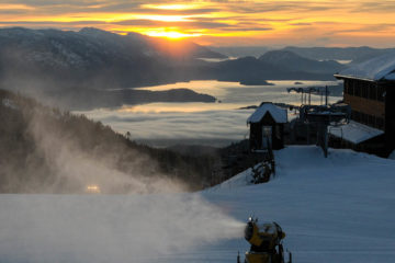 Snowmaker turning water into snow on Schweitzer Mountain.