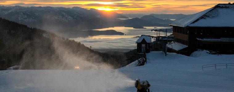 Snowmaker turning water into snow on Schweitzer Mountain.