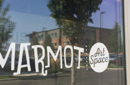 Photo of Marmot vinyl decal on door of gallery.