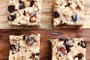 Photo of no bake power bars cut in squares.
