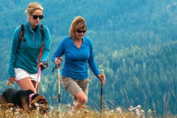 Photo of female hikers and dog on Mount Spokane.