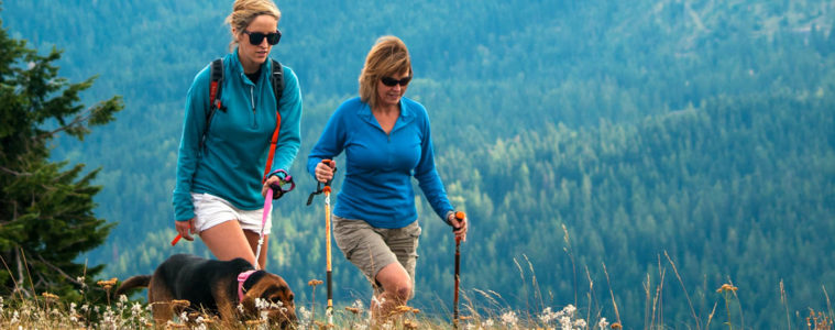 Photo of female hikers and dog on Mount Spokane.