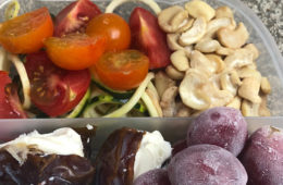 Photo of dates, nuts, grapes, and tomato pasta in a plastic lunch box.