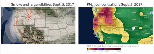 Photo of graph showing smoke levels across the US.