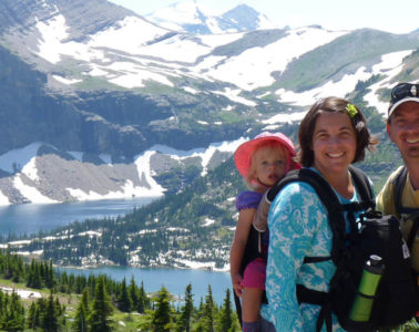 Photo of family of four at Hidden Lakes Overlook.