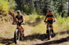 Lisa_Marie Perino and Alex Renner ride fat bikes on Mt. Spokane.