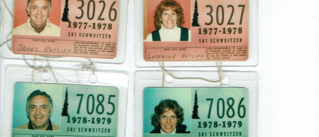 Scan of vintage ski passes.