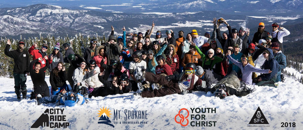 Group photo of the 2018 City Ride Camp on Mt. Spokane.