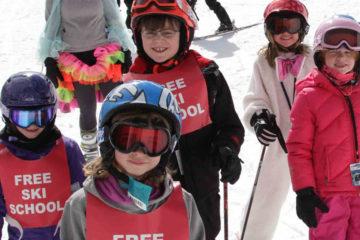 Photo of kids in Lookout's free ski school.