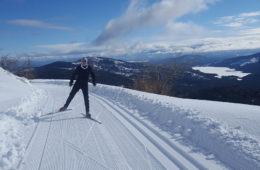 Photo of guy cross country skiing with mountain peak in background.