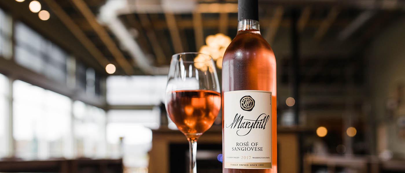 Photo of Maryhill Wine bottle next to wine glass.