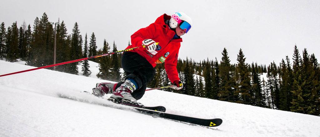 Photo of Farli Boden telemark skiing.