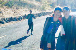 Photo of Summer and Ellen at the 20 mile mark of the Spokane Marathon.