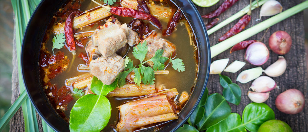 Photo of Thai Bone Broth from above.