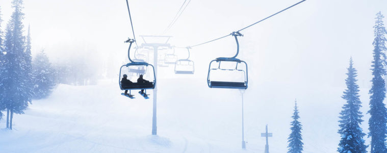 Photo of skiers on chairlift at Kimberly Resort.
