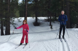 Gordon Ritchie (right) and his daughter cross-country skiing.