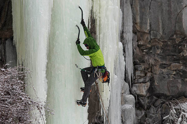 Photo of ice climber at Hyalite Canyon