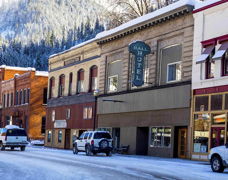 Photo of the main street in Wallace, Idaho.
