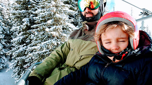 Photo of Cyrus and Jason on the Chairlift.